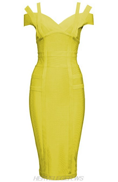 Herve Leger Yellow Strap Bardot Dress