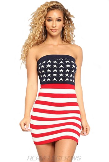 Herve Leger USA Flag Strapless Bandeau Dress