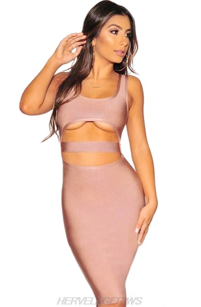 Herve Leger Dusty Pink Underboob Cut Out Dress
