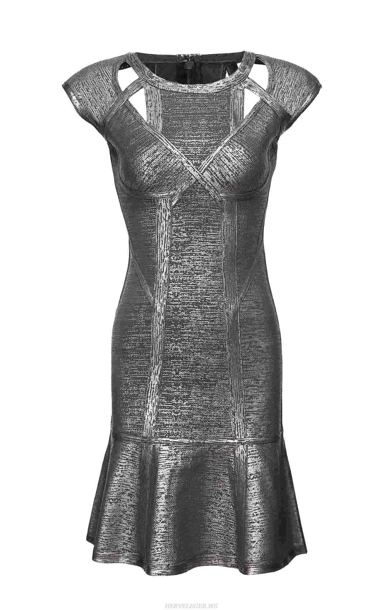 Herve Leger Ariana Foil Crochet Jacquard Dress
