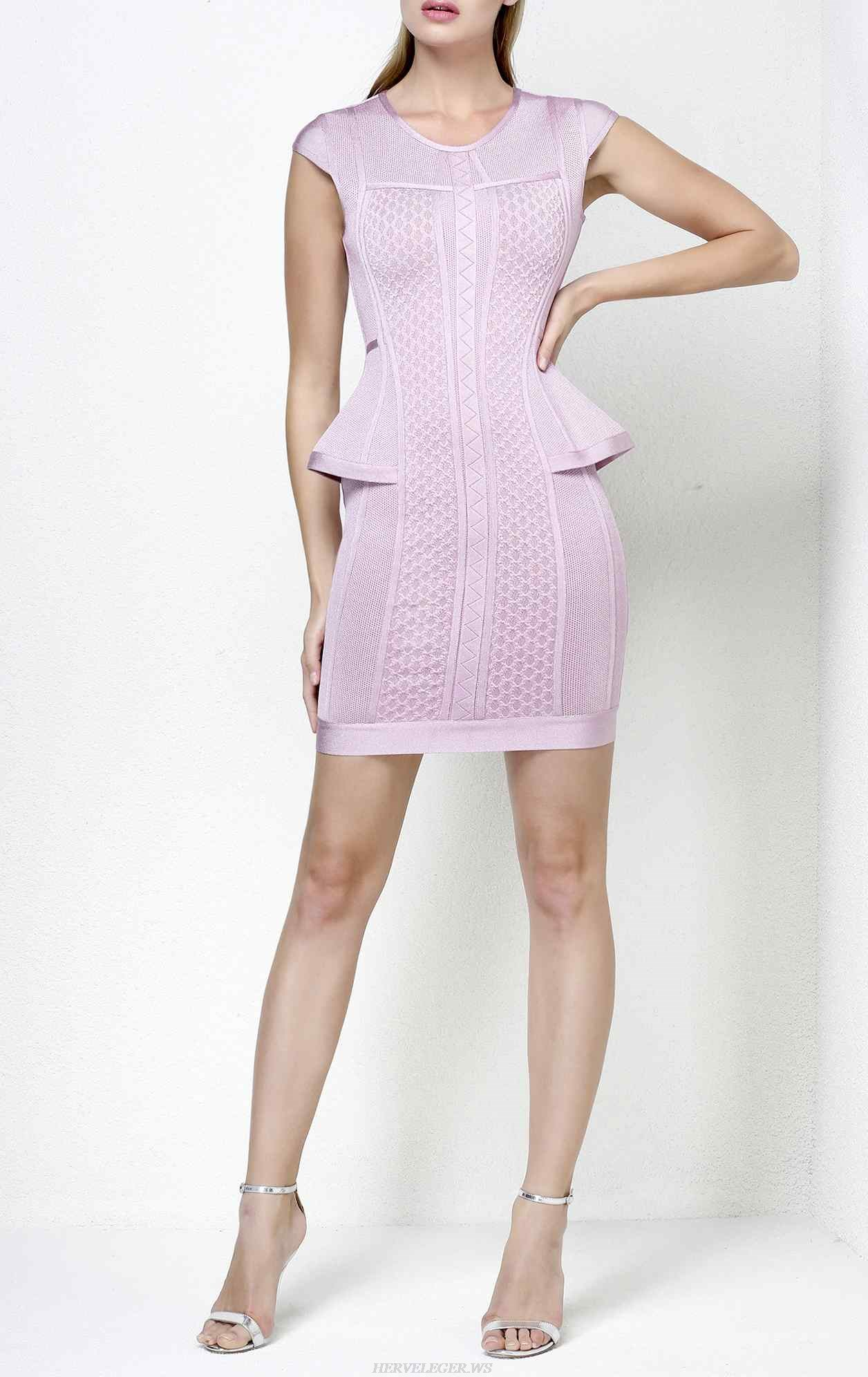 Herve Leger Astrid Multi Texture Mesh Dress