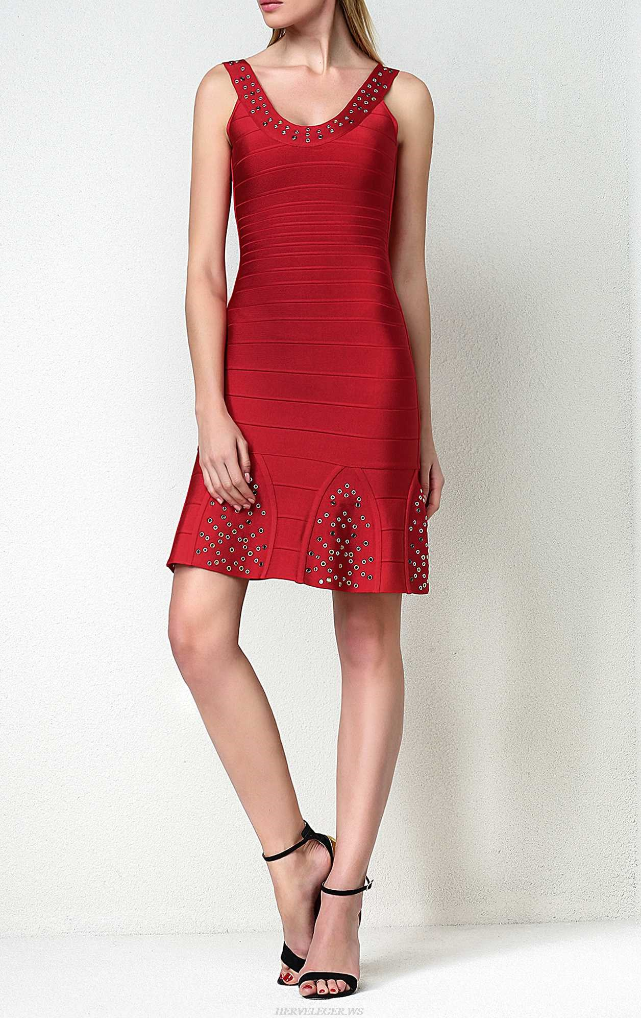 Herve Leger Blakely Multi Eyelet Dress