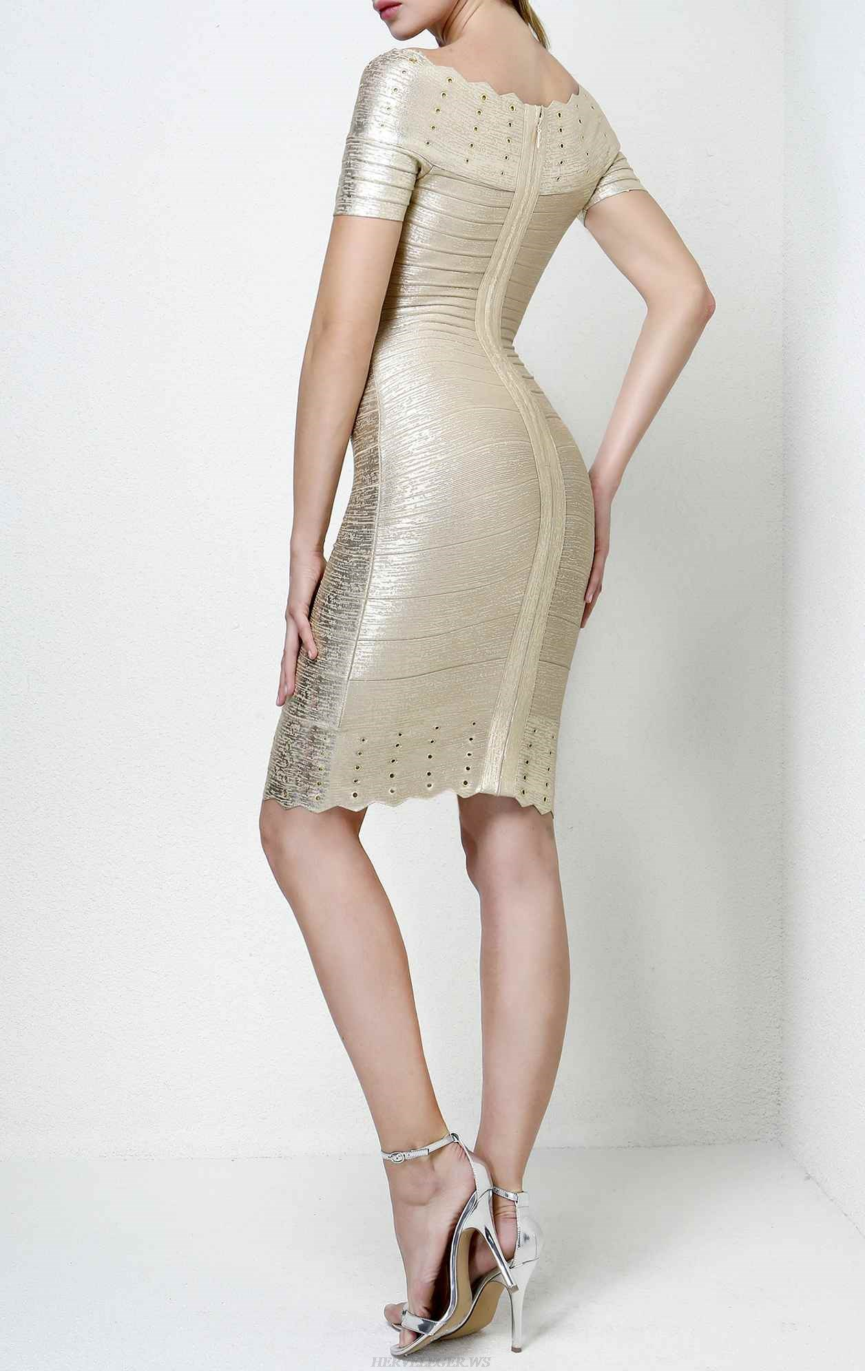 Herve Leger Carmen Off The Shoulder Woodgrain Foil Print Dress
