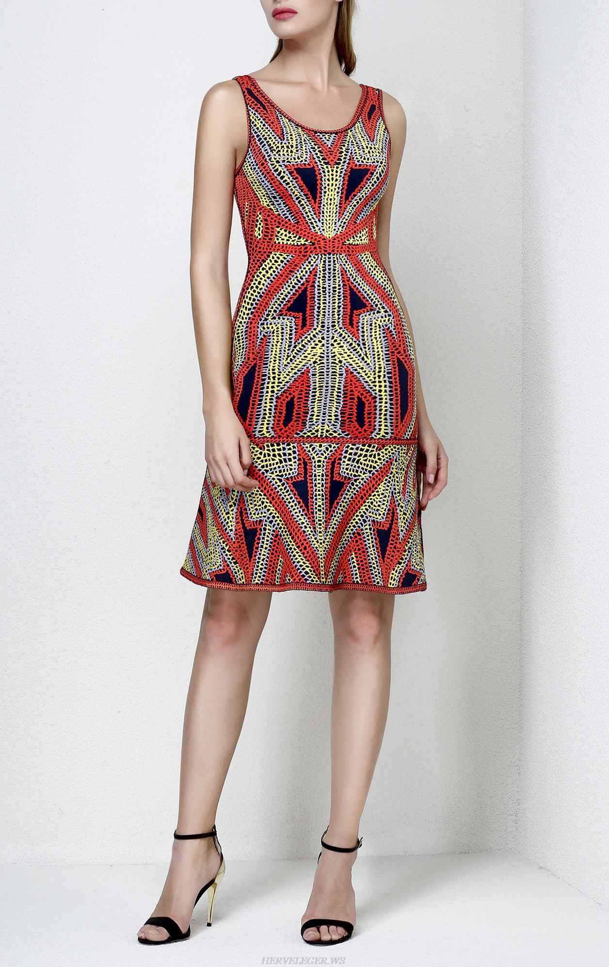 Herve Leger Danika Geometric Jacquard Flounce Dress