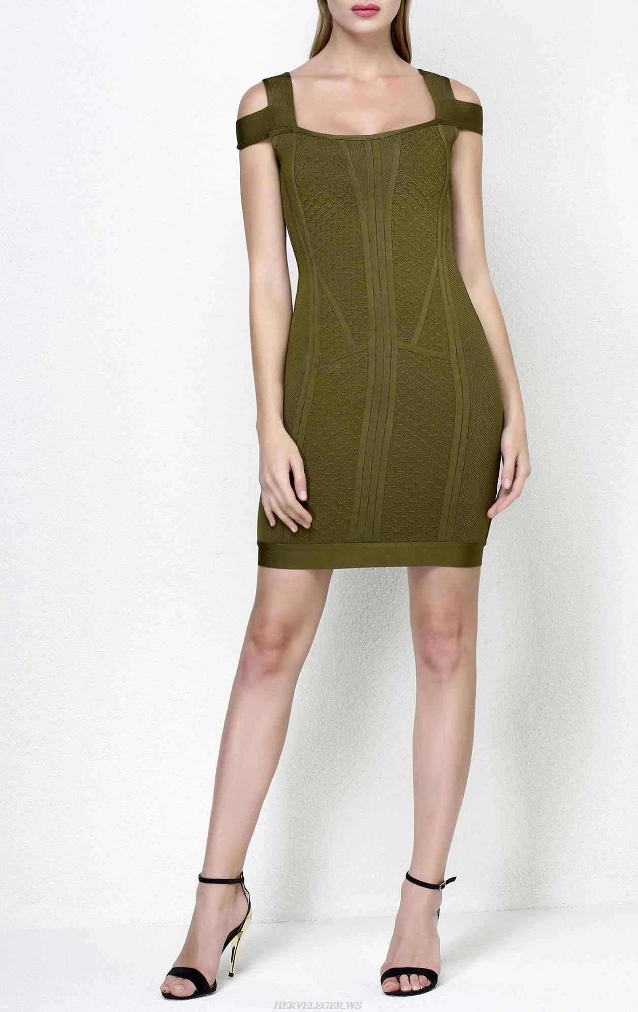 Herve Leger Evanne Multi Texture Mesh Dress