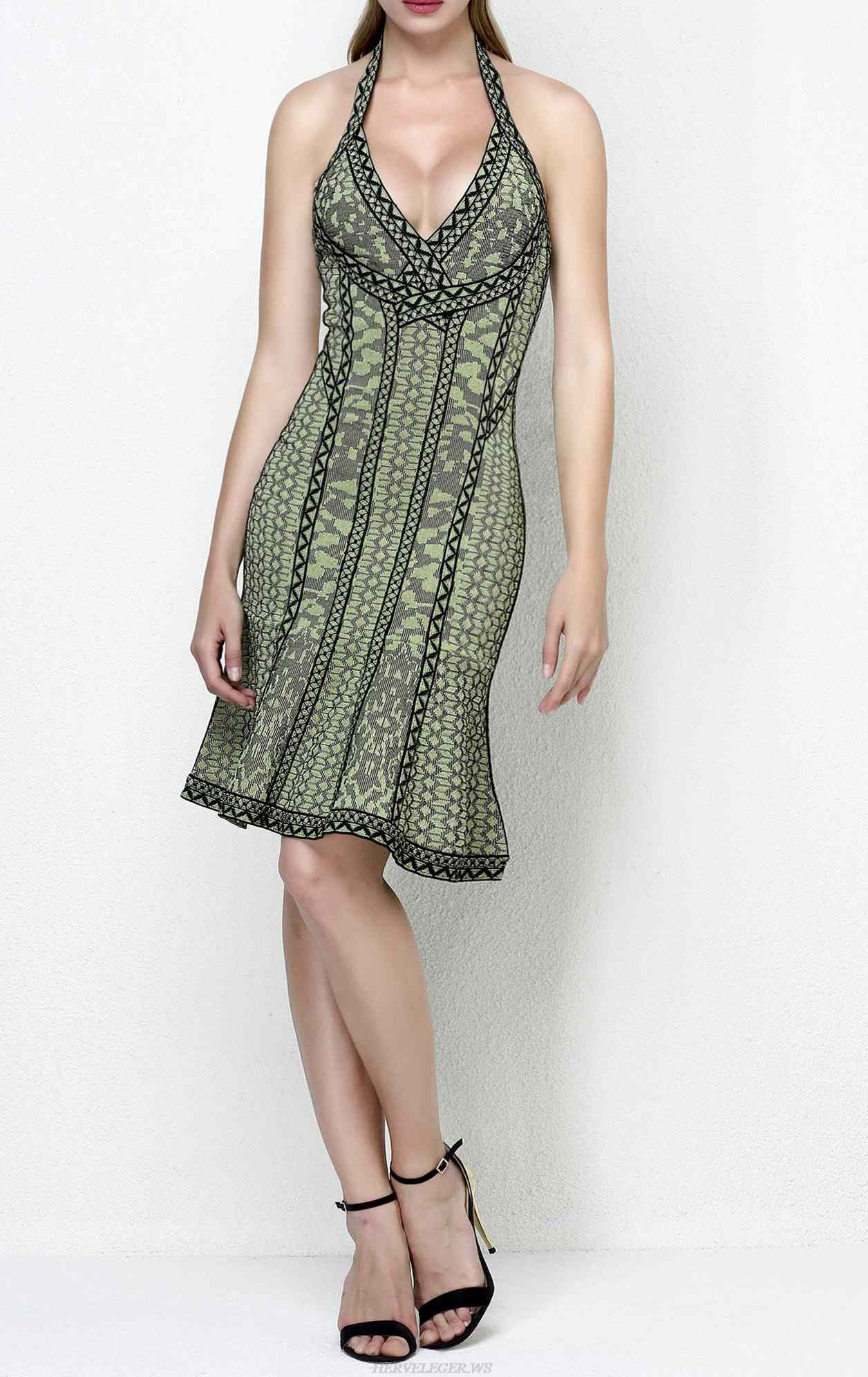 Herve Leger Jazmin Floral Diamond Jacquard Dress