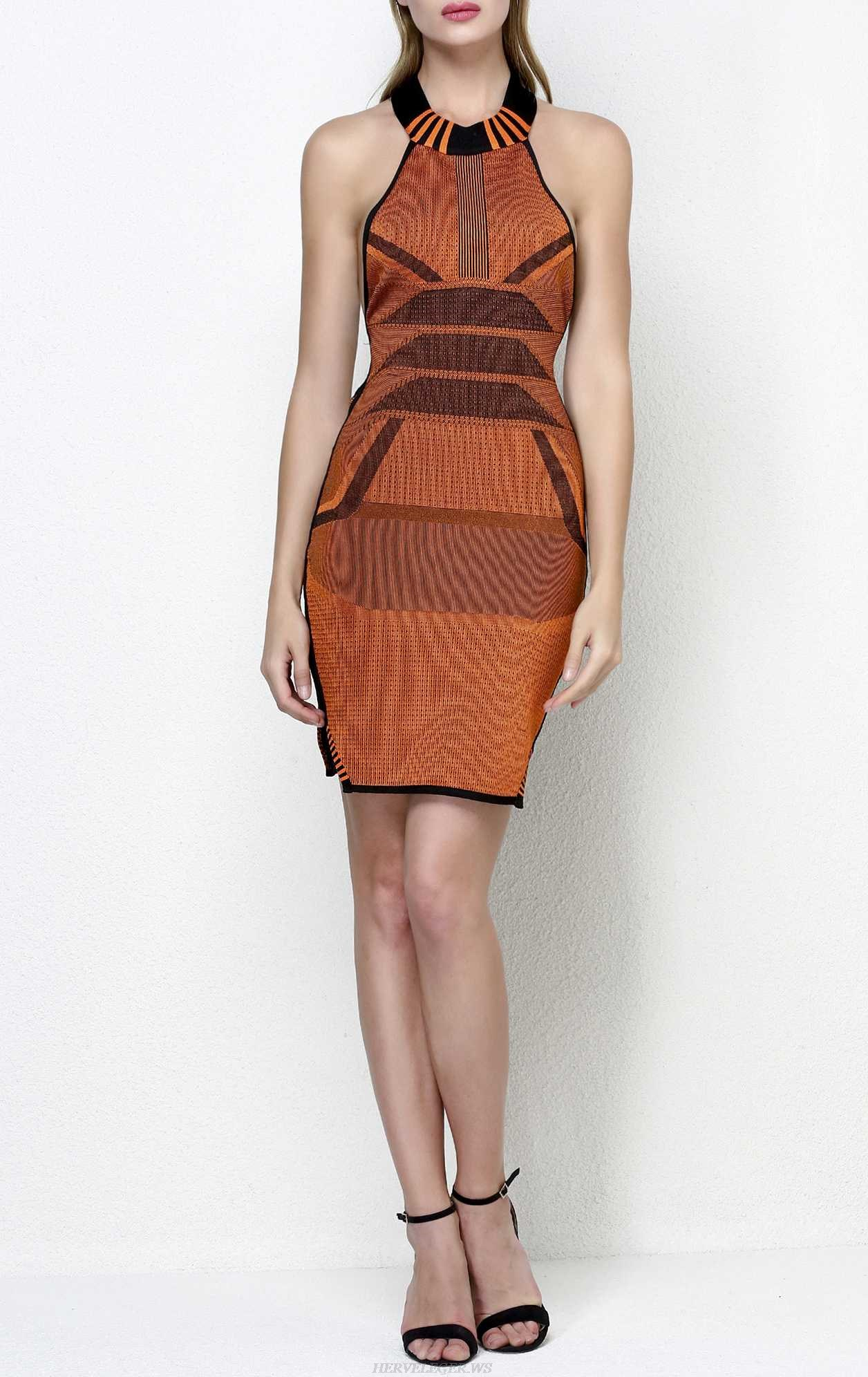 Herve Leger Mesh Paneled Knitted Cotton Blend Dress