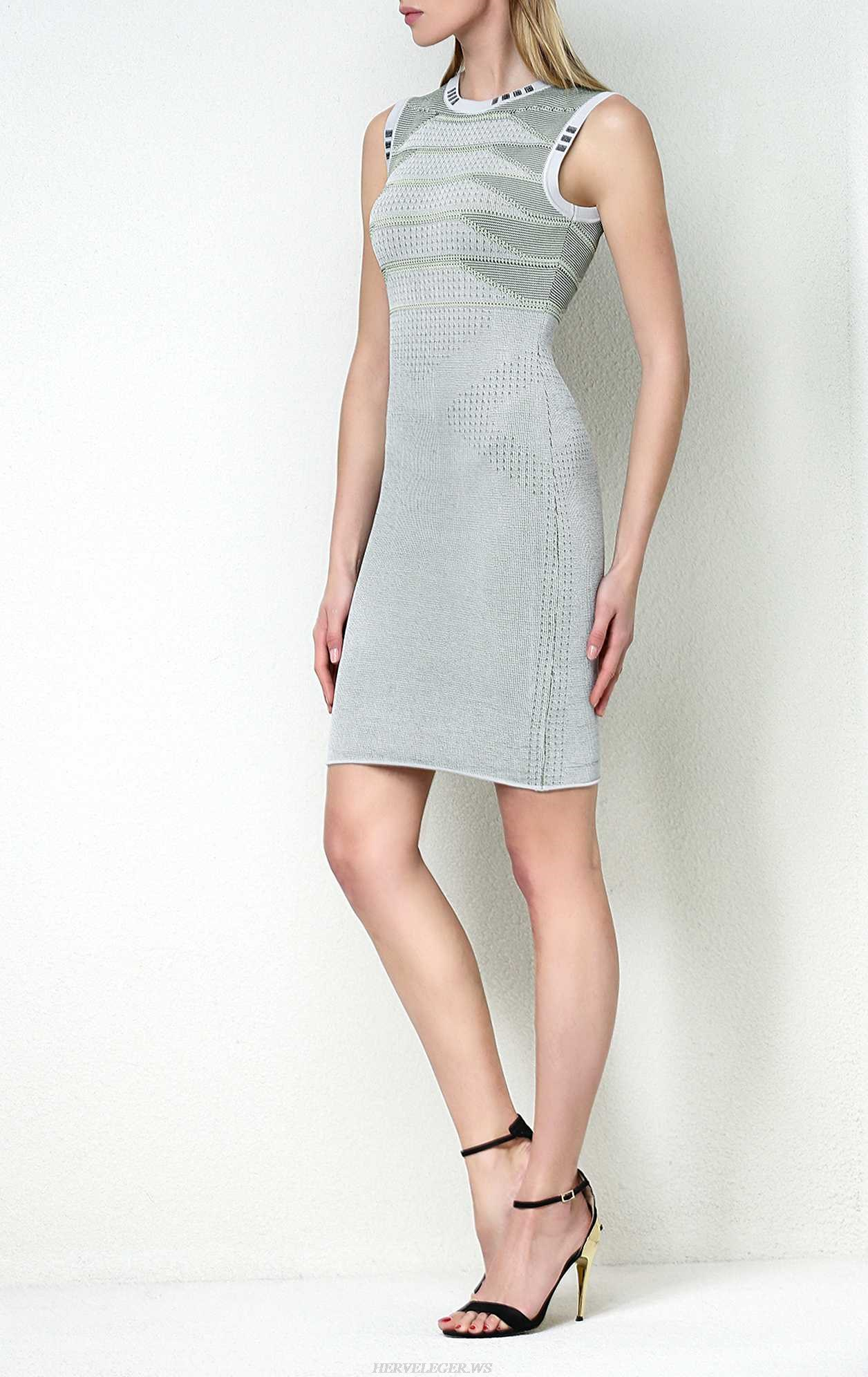 Herve Leger Mesh Paneled Knitted Dress
