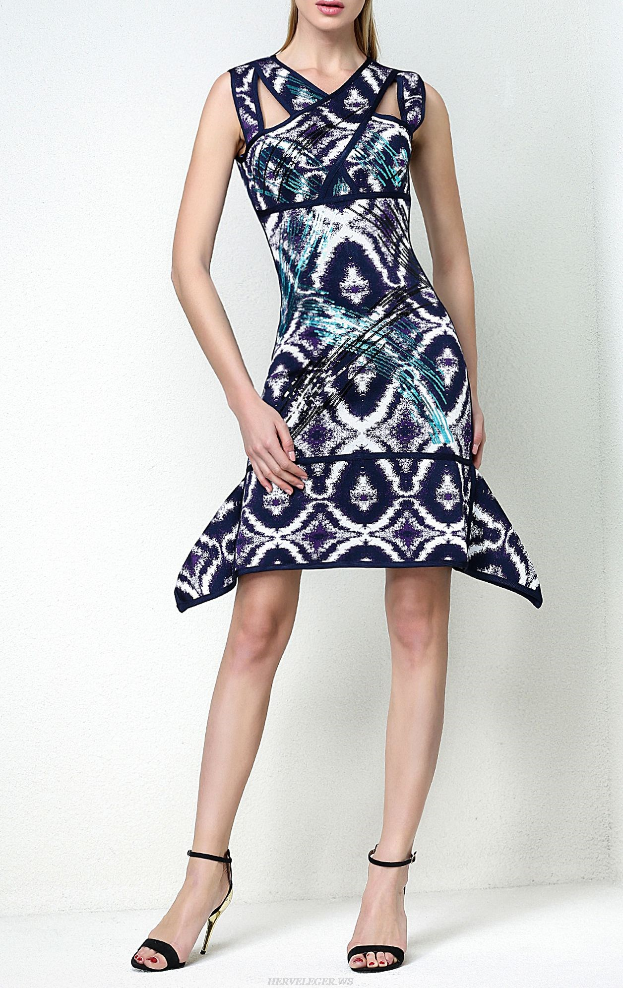 Herve Leger Natalia Sequined Ikat Jacquard Wave Dress