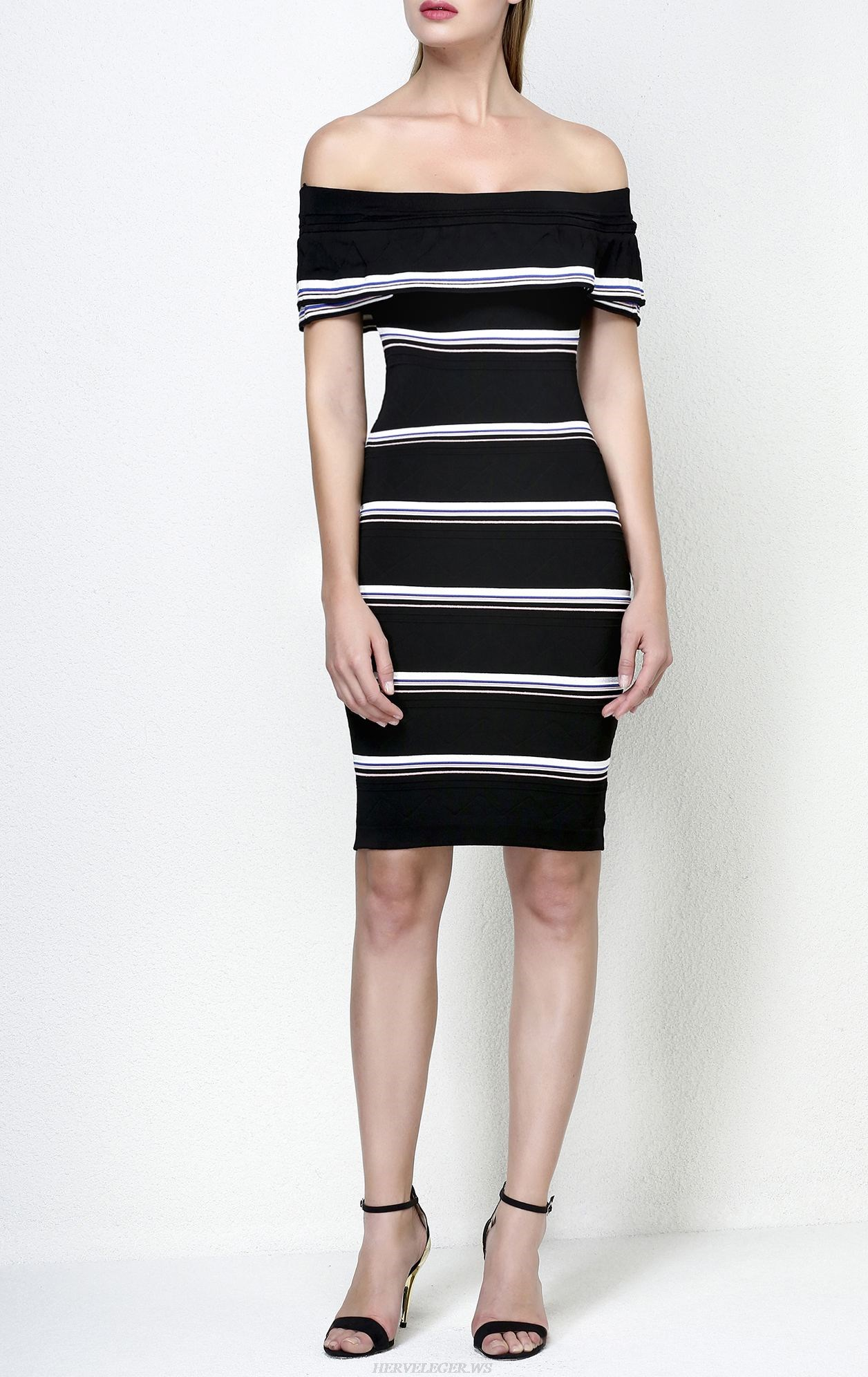 Herve Leger Black Off The Shoulder Striped Cotton Blend Dress