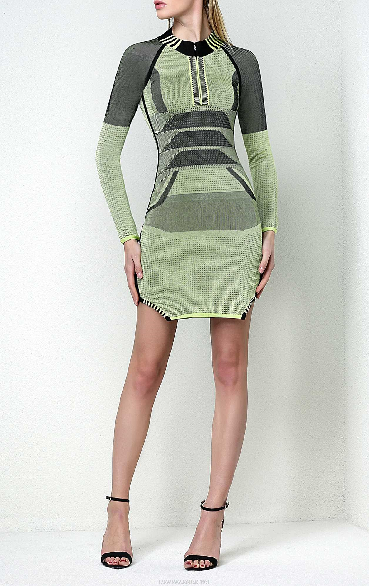 Herve Leger Open Back Two Tone Mesh Dress