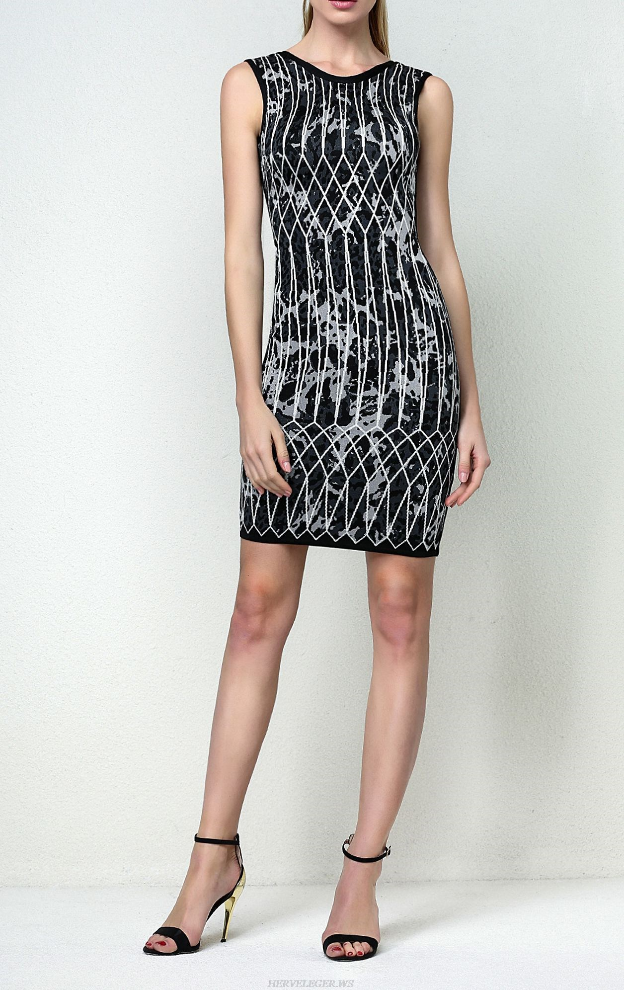 Herve Leger Sidney Open Back Caged Animal Jacquard Dress
