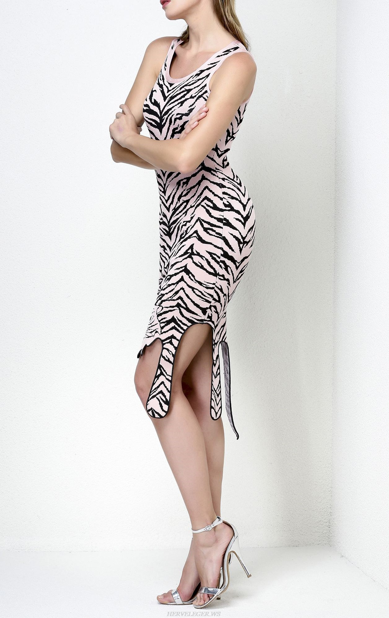 Herve Leger Tiger Print Jacquard Dress