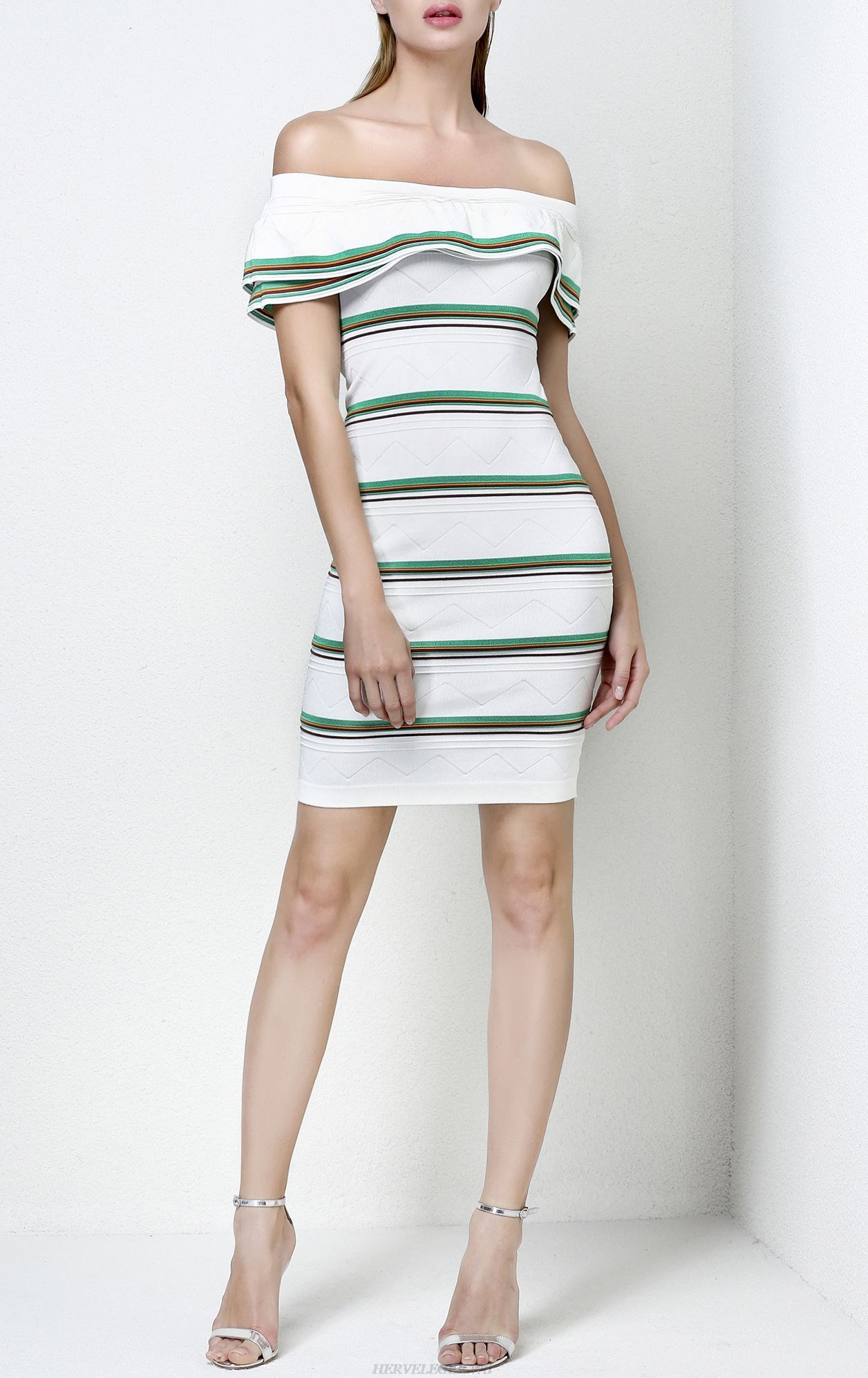Herve Leger White Off The Shoulder Striped Cotton Blend Dress