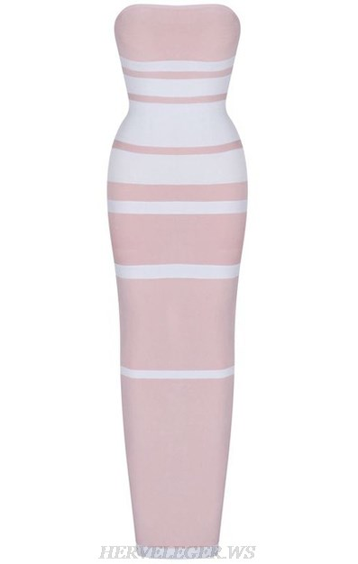Herve Leger Strapless Bandeau Stripes Bandage Dress