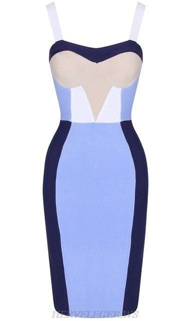 Herve Leger Blue White Nude Colorblock Bandage Stars Dress
