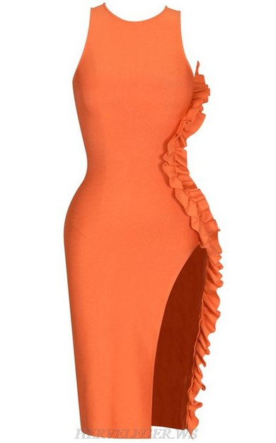 Herve Leger Orange Frill Detail Slit Bandage Dress