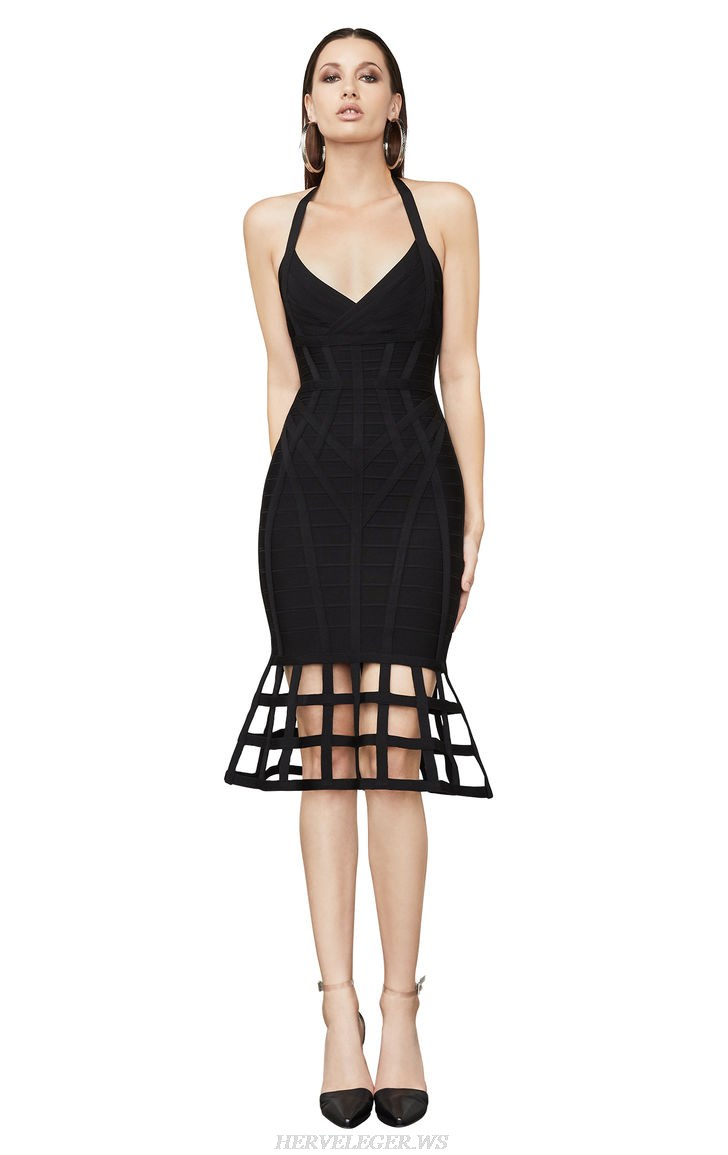 Herve Leger Black Halter Caged Fluted Bandage Dress