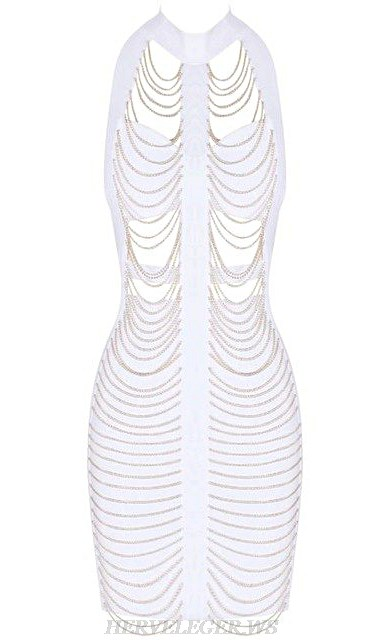 Herve Leger White Halter Chain Cut Out Bandage Stars Dress