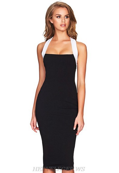 Herve Leger Black And White Halter Bandage Dress