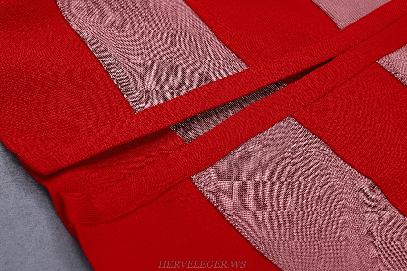 Herve Leger Red Pink Halter Bandage Strapless Dress
