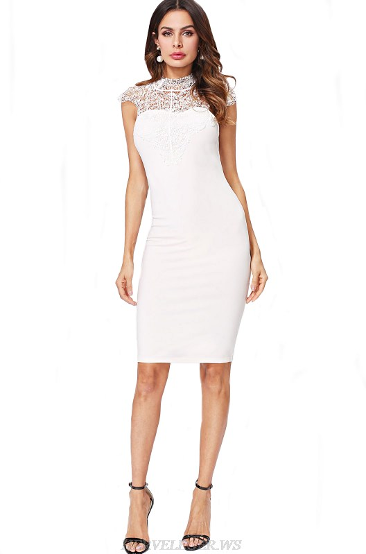 Herve Leger White Lace Backless Bandage Dress