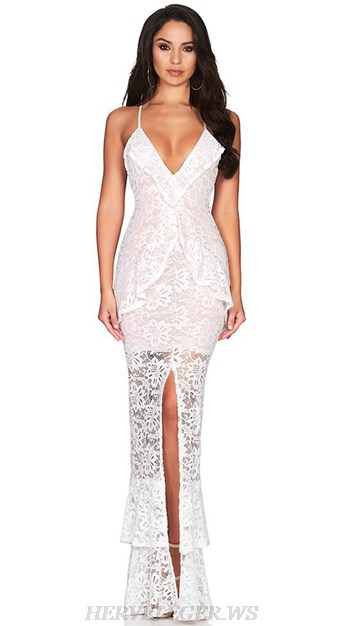 Herve Leger White V Neck Lace Gown