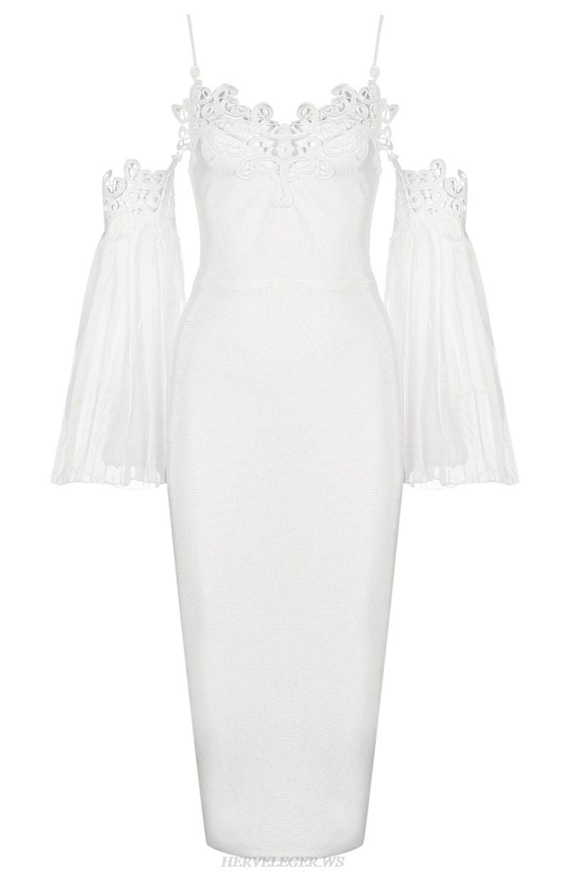 Herve Leger White Strapless Long Sleeve Embroidered Bandage Dress