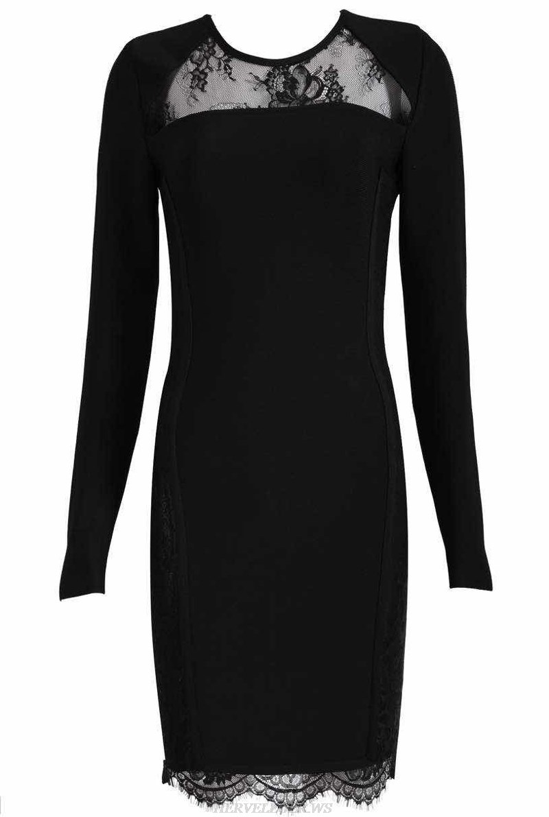 Herve Leger Black Long Sleeve Lace Bandage Stars Dress