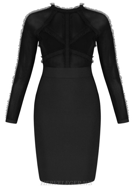 Herve Leger Black Long Sleeve Mesh Frill Bandage Dress
