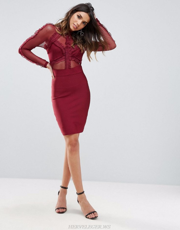 Herve Leger Red Burgundy Long Sleeve Mesh Frill Bandage Dress