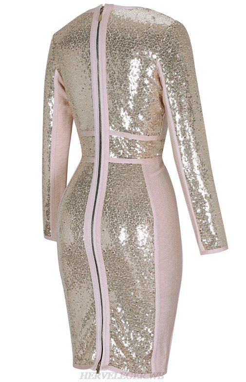 Herve Leger Gold V Neck Long Sleeve Plunge Sequin Bandage Dress