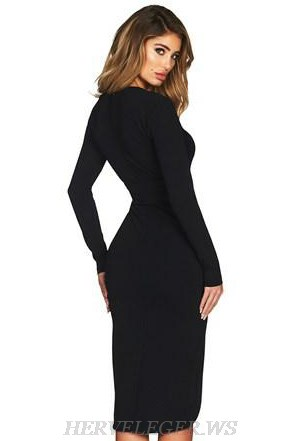 Herve Leger Black V Neck Long Sleeve Plunge Slit Bandage Dress