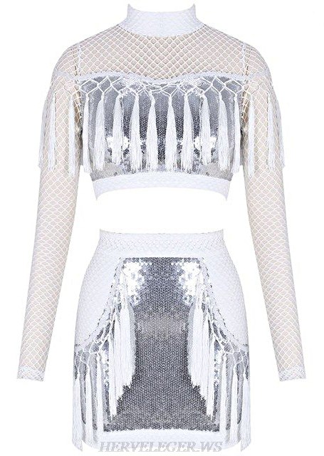 Herve Leger White Silver Long Sleeve Two Piece Bandage Stars Dress