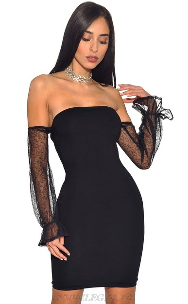 Herve Leger Black Strapless Mesh Long Sleeve Bardot Bandage Dress