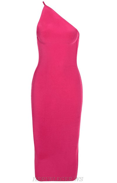 Herve Leger Hot Pink One Shoulder Bandage Dress