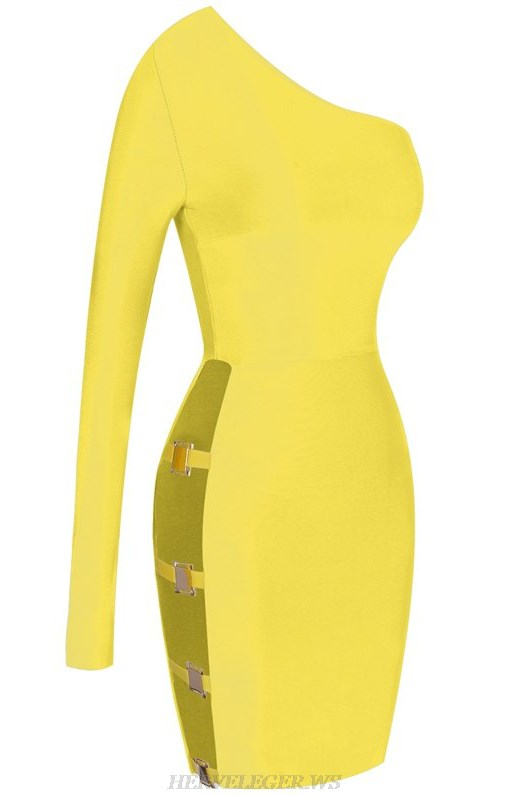 Herve Leger Yellow One Sleeve Side Cut Out Bandage Dress