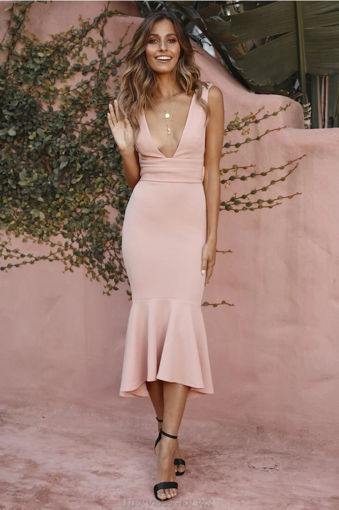 Herve Leger Nude V Neck Pink Plunge Fluted Bandage Dress