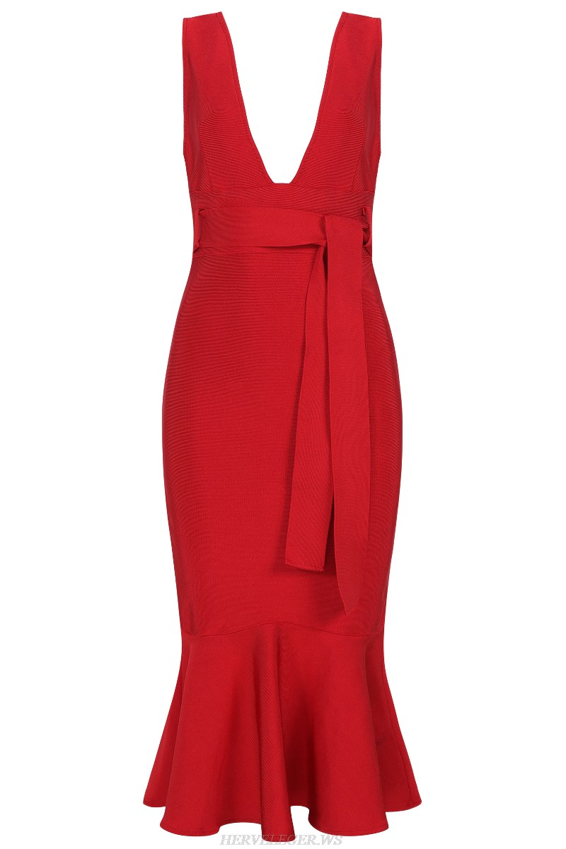 Herve Leger Red V Neck Plunge Fluted Bandage Stars Dress