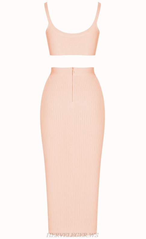 Herve Leger Peach Ribbed Two Piece Bandage Stars Dress