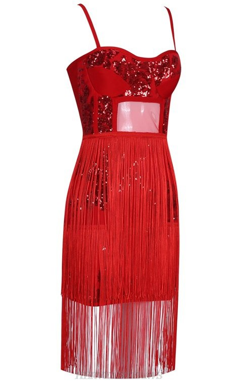 Herve Leger Red Sequin Bustier Tassel Bandage Dress