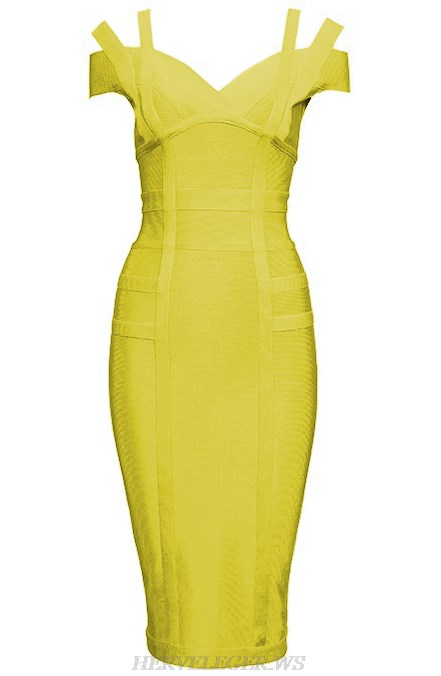 Herve Leger Yellow Strap Bardot Bandage Dress