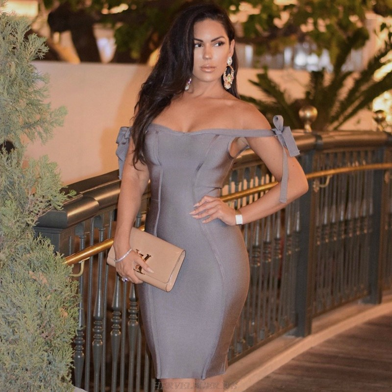 Herve Leger Grey Tie Bardot Bandage Stars Dress