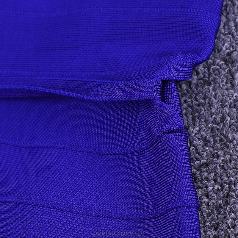 Herve Leger Blue Tie Detail Bandage Dress