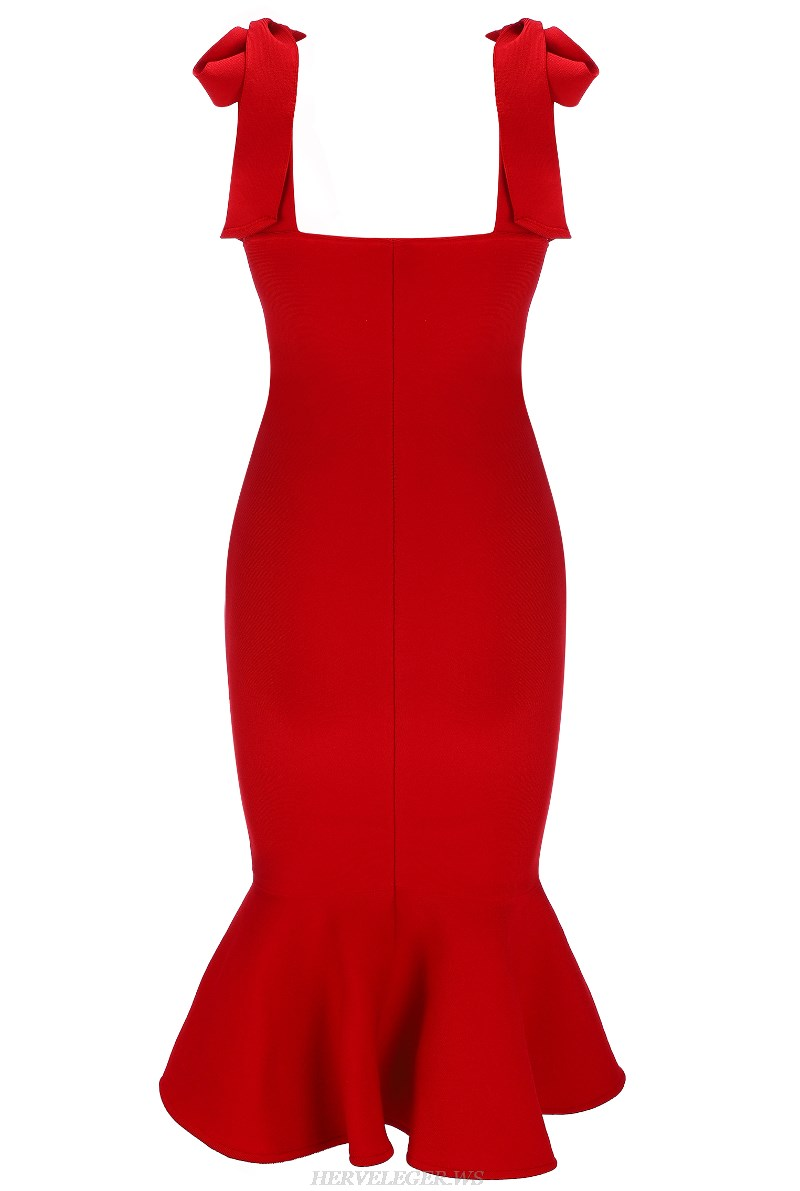 Herve Leger Red Strapless Tie Detail Fluted Bandage Dress