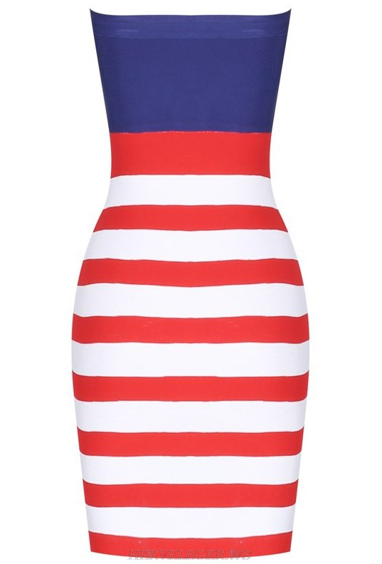 Herve Leger USA Flag Strapless Bandeau Bandage Stars Dress