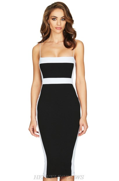 d7eb8fffc6f2d Herve Leger Black And White Strapless Colorblock Bandage Dress