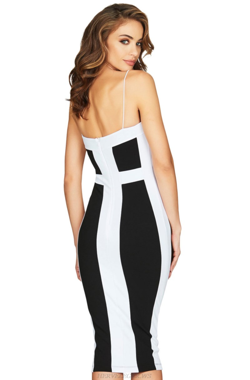 Herve  Leger Black And White Strapless Colorblock Bandage Dress