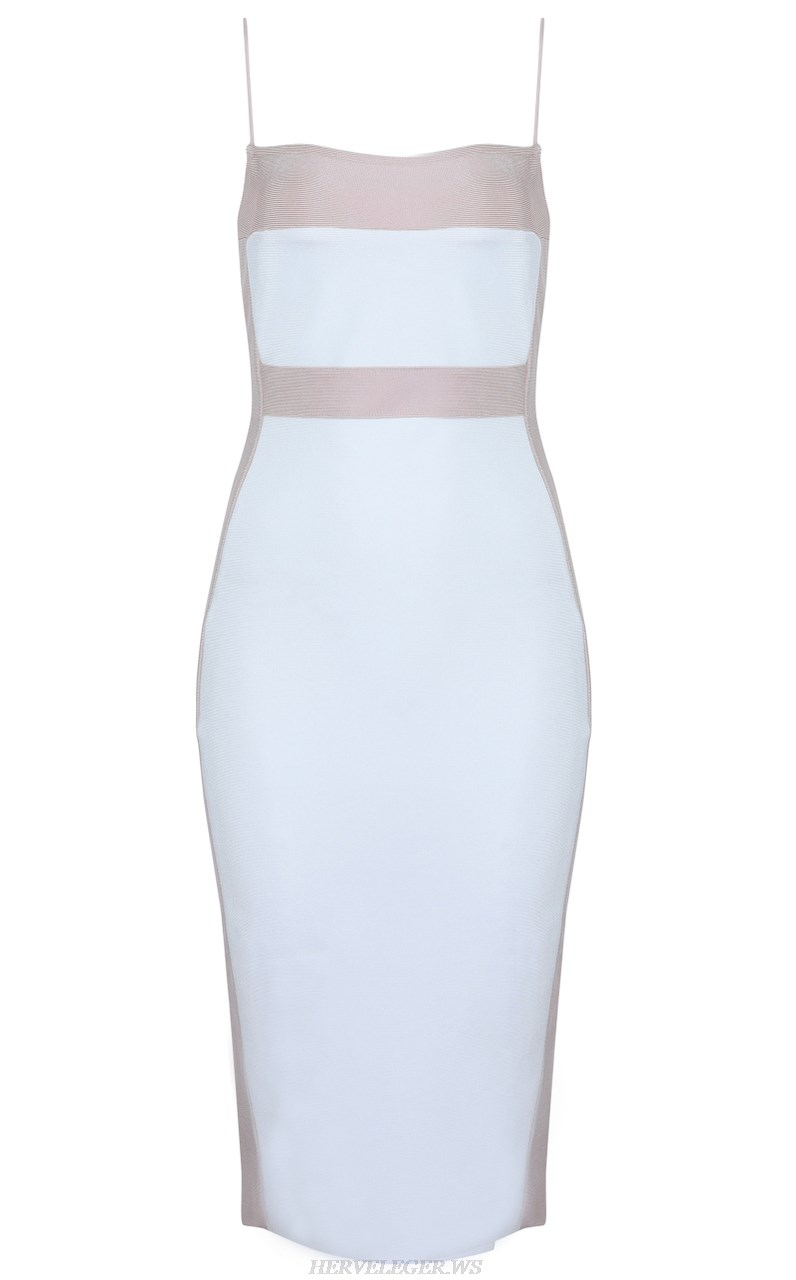 Herve  Leger Kim Kardashian White Nude Colorblock Stars Bandage Dress