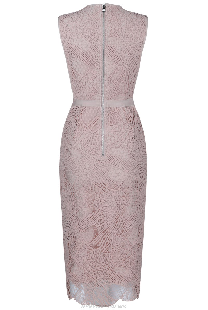 Herve  Leger Nude And Pink Crochet Bandage Stars Dress